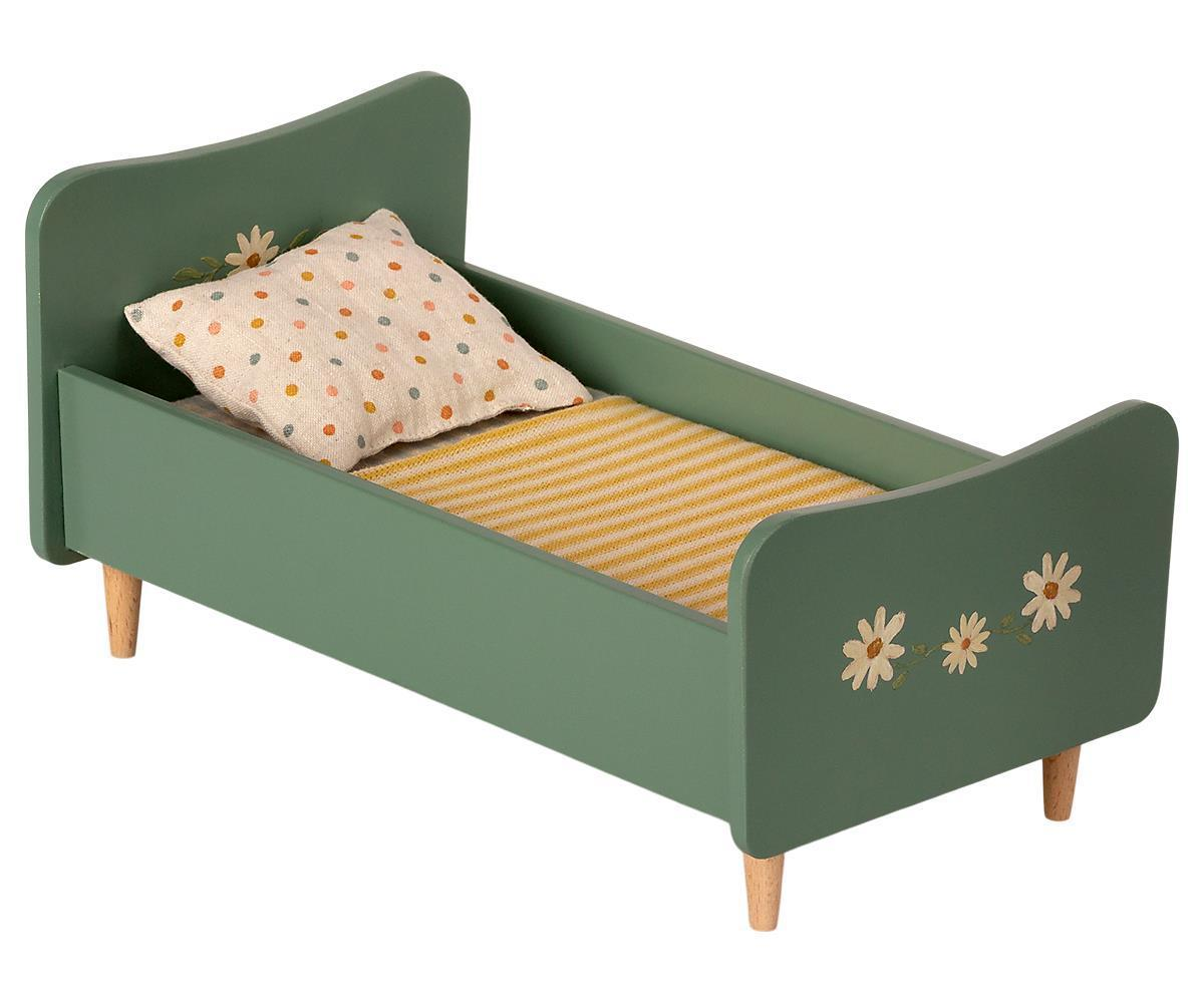 Maileg Wooden Bed Mini Mint Blue