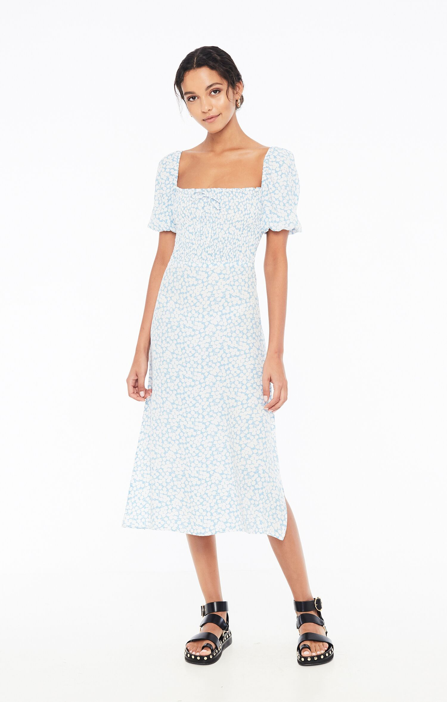 Load image into Gallery viewer, Majorelle Midi Dress in Bella Floral Print Riviera Blue by Faithfull The Brand | Printed Dresses for Women