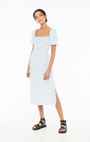 Majorelle Midi Dress - Bella Floral Print Riviera Blue