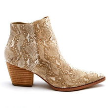 Load image into Gallery viewer, Matisse Astoria Snakeskin Bootie