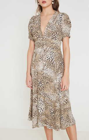Faithfull The Brand Meadows Midi Dress in Signe Animal Print | Leopard Dresses