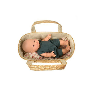 MiniKane Woven Straw Bassinet | MiniKane Doll Accessories