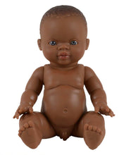 Load image into Gallery viewer, MiniKane Little African Baby Boy Doll - Blue Eyes
