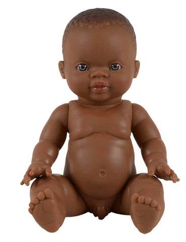 MiniKane Little African Baby Boy Doll - Blue Eyes
