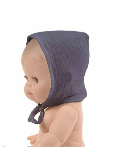 MiniKane Little Girl Doll Bonnet - Mouse Gray