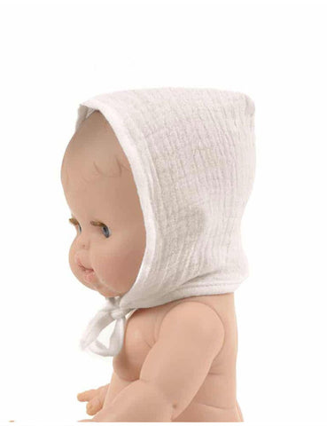 MiniKane Little Girl Doll Bonnet - White