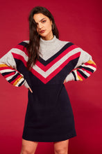 Load image into Gallery viewer, MinkPink Stripe Me Up Sweater Dress | Navy Dresses