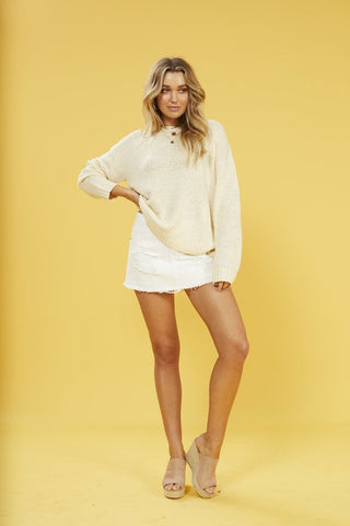 Millie Cross Back Sweater in White