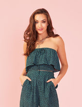 Load image into Gallery viewer, Minkpink Eyes Wide Crop Tube Top | Womens Green Ruffled Top