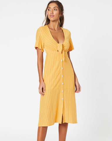 Tie Front Midi Dress - Yellow/White