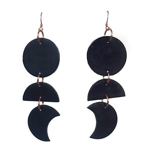 Moon Phase Dangles: Total Eclipse Black