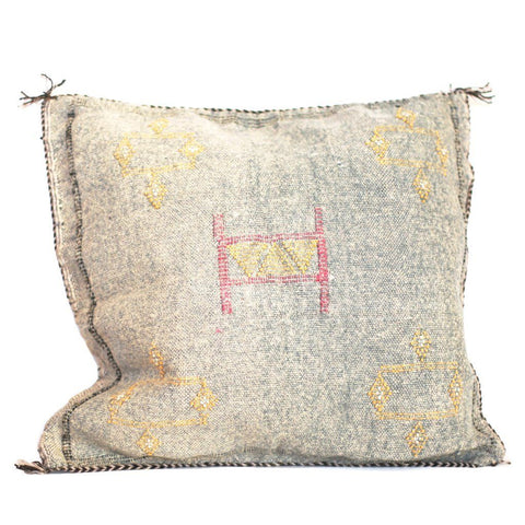 Moroccan Cactus Silk Pillow, Gray