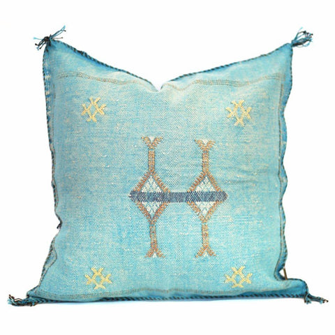 Moroccan Cactus Silk Pillow, Gulf Stream