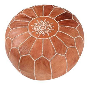 Moroccan Leather Floor Pouf in Saddle Brown