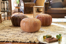 Load image into Gallery viewer, Moroccan Leather Floor Pouf in Saddle Brown