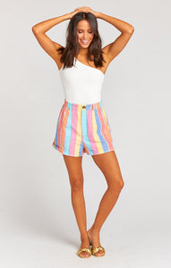 Stewart Shorts - Rainbow Stripe Linen