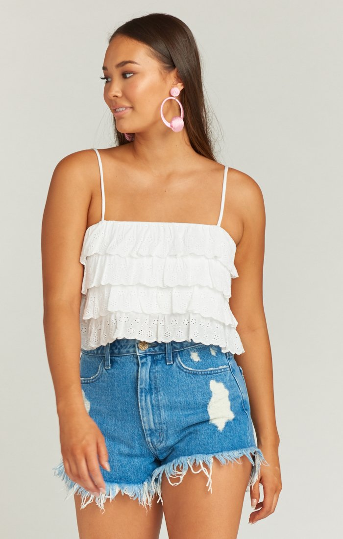Nina Crop Top in White Eyelet by Show Me Your Mumu | Bohemian Mama