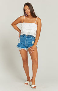 Nina Crop Top in White Eyelet by Show Me Your Mumu | Crop Tops
