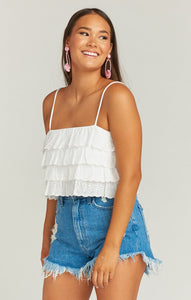 Nina Crop Top in White Eyelet by Show Me Your Mumu | Tops