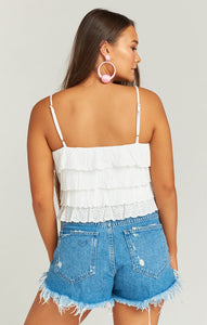Nina Crop Top in White Eyelet by Show Me Your Mumu