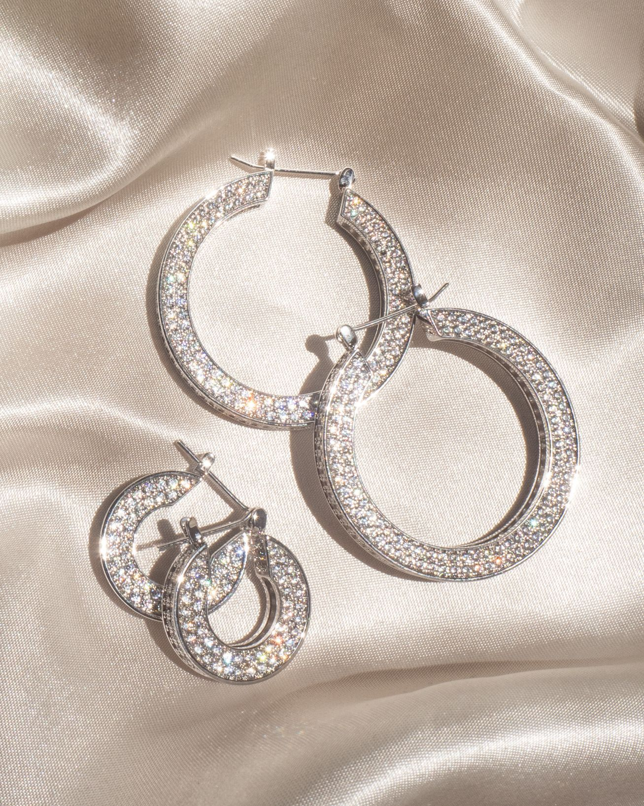 Load image into Gallery viewer, Pave Baby Celine Hoops - Silver | Luv AJ - Holiday 2020 | Women's Jewelry