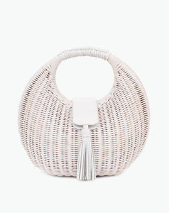 White Olivia Wicker Bag Cleobella