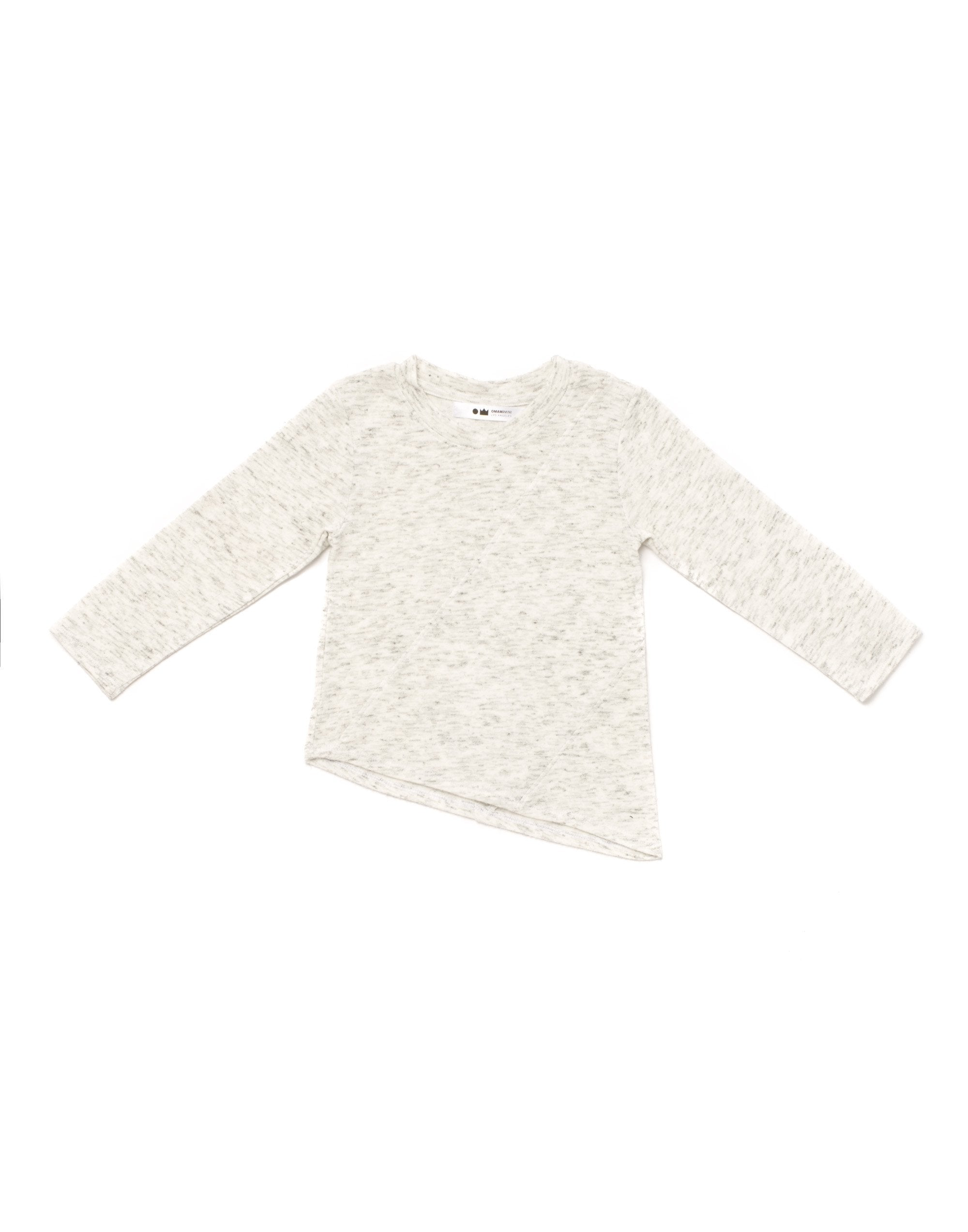 Knit long sleeve tee w/ asymmetrical hem