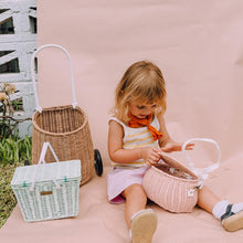 Load image into Gallery viewer, Olli Ella Piki Kids Basket in Mint | Straw Rattan Picnic Baskets