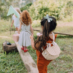 Rattan Backpack for kids. Mini Chari in Straw by Olli Ella