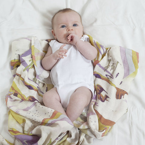 Bamboo + Organic Cotton Baby Swaddle Desert Dreaming