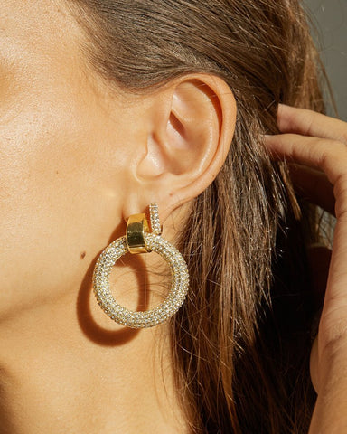 The Pave Door Knocker Hoops - Gold