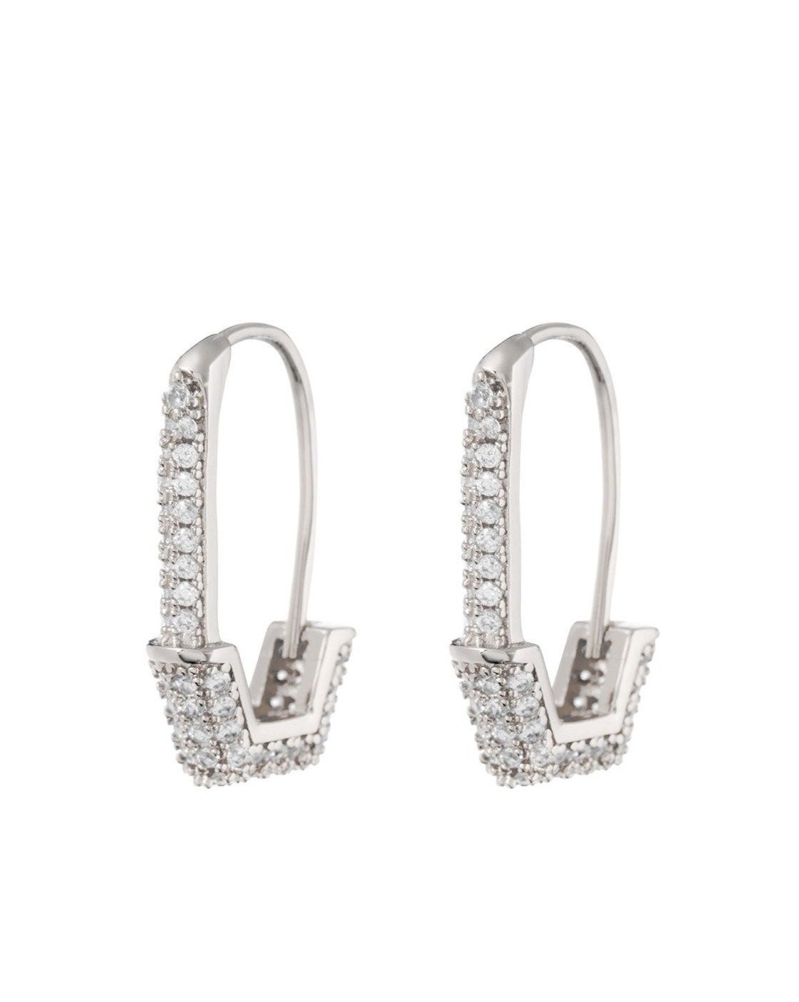 Pave Hex Safety Pin Earrings -  Silver | Luv AJ - Holiday 2020 | Women's Jewelry