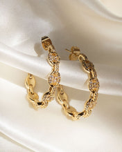 Load image into Gallery viewer, Pave Mariner Hoops - Gold
