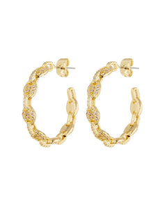 Pave Mariner Hoops - Gold