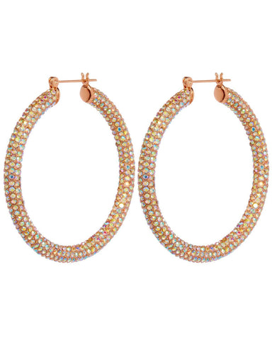 Pave Amalfi Hoops- Rose Gold & Rainbow Crystal