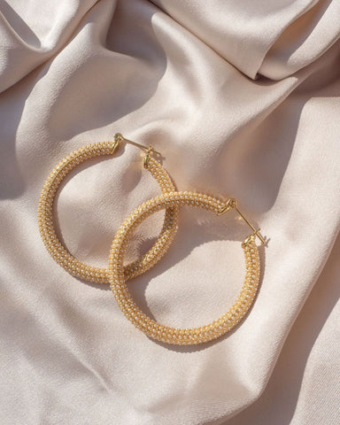 Pave Amalfi Hoops - Gold & Pearl
