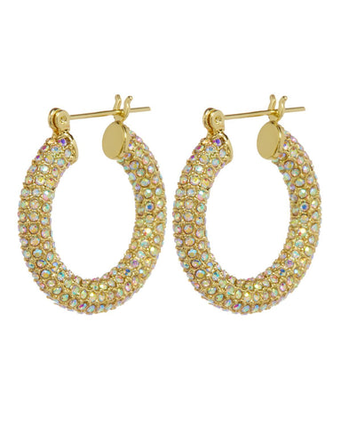 Pave Baby Amalfi Hoops- Gold & Rainbow Crystal