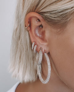 Pave Amalfi Hoops Rose Gold