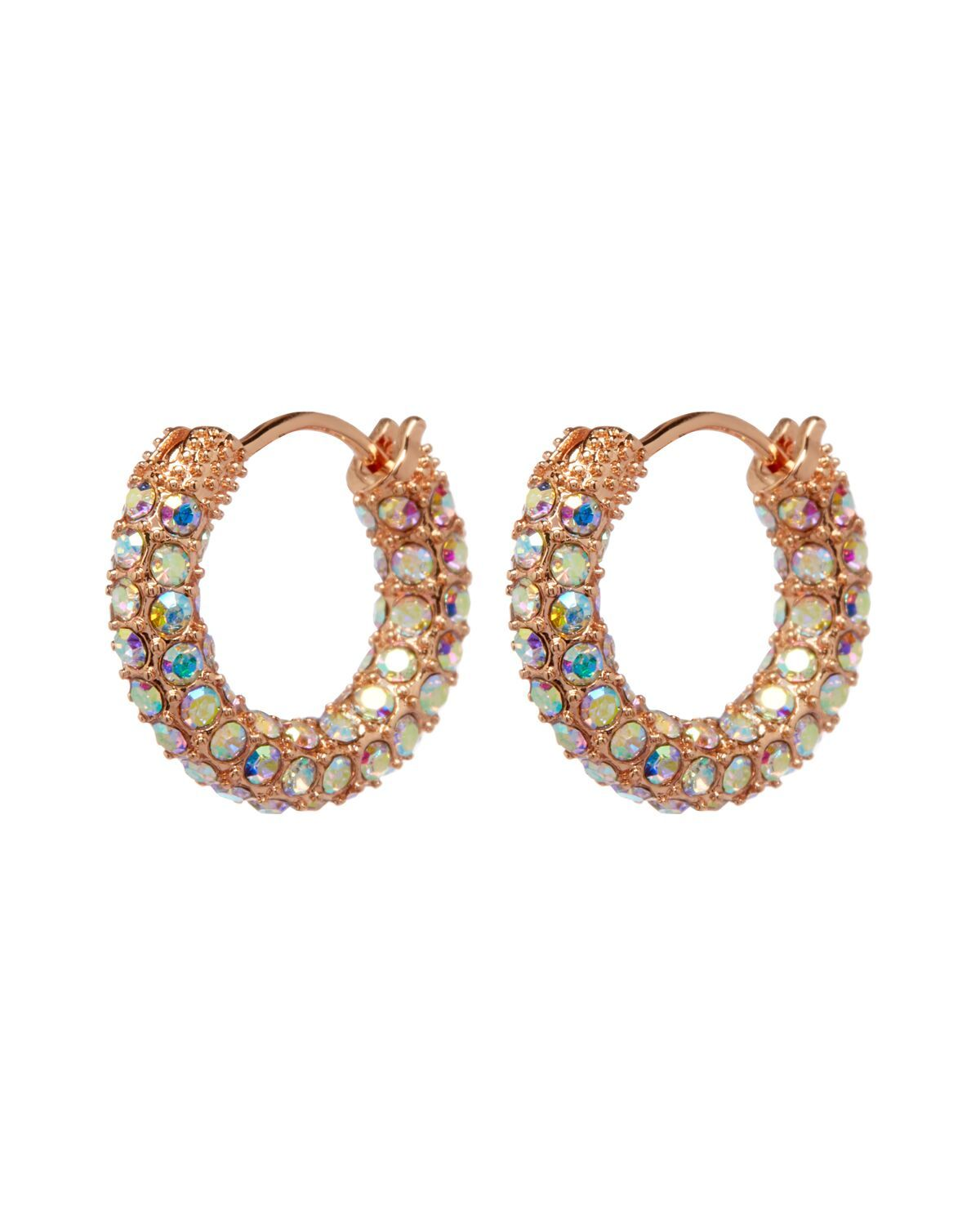 Luv AJ Pave Amalfi Huggies in Rose Gold & Rainbow Crystal