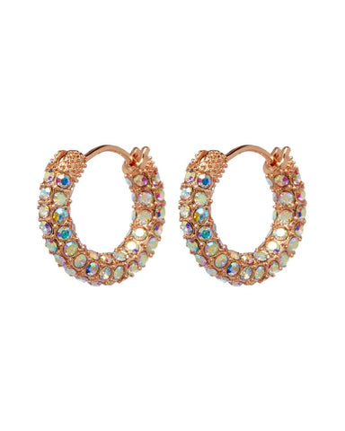 Pave Amalfi Huggies- Rose Gold & Rainbow Crystal