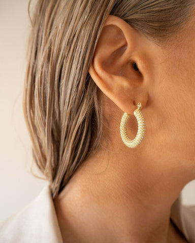 Pave Baby Amalfi Hoops - Gold & Pearl