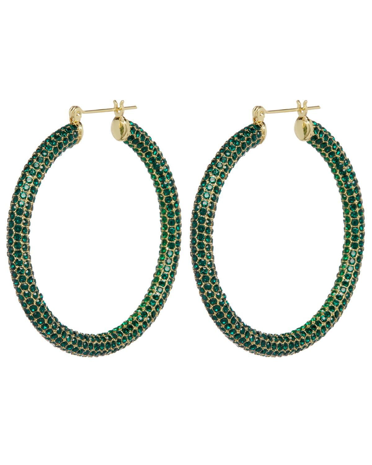 Load image into Gallery viewer, Luv Aj Pave Amalfi Hoops Emerald