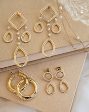 Load image into Gallery viewer, Pearl Baby Amalfi Hoops - Gold