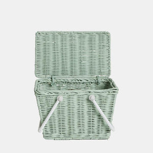 Olli Ella Piki Kids Basket in Mint | Straw Rattan Picnic Baskets