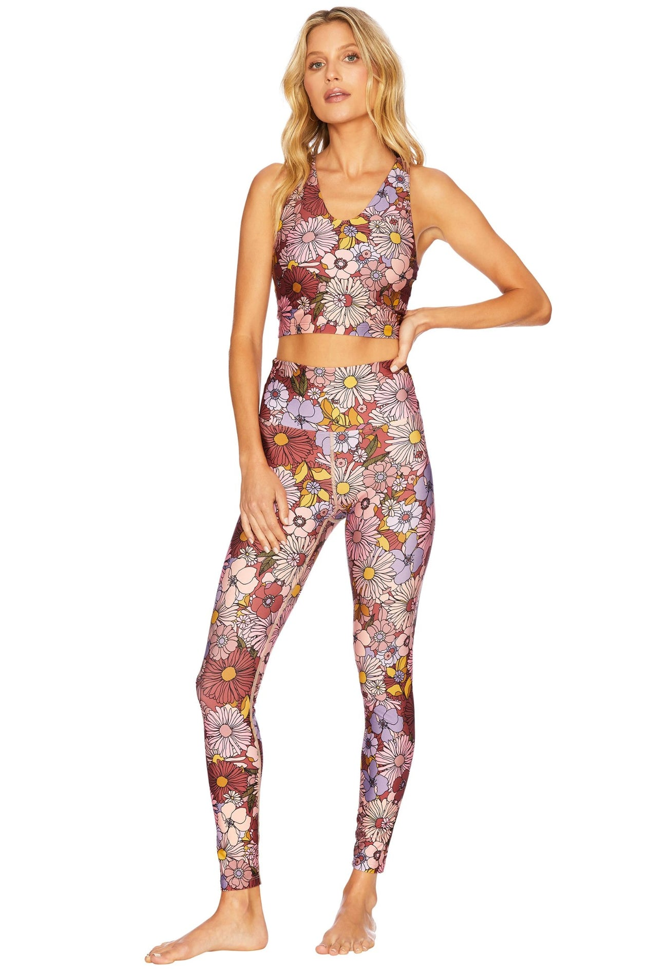 Piper Legging - Marsala Floral | Beach Riot - Fall 2020 - Women's Swimwear