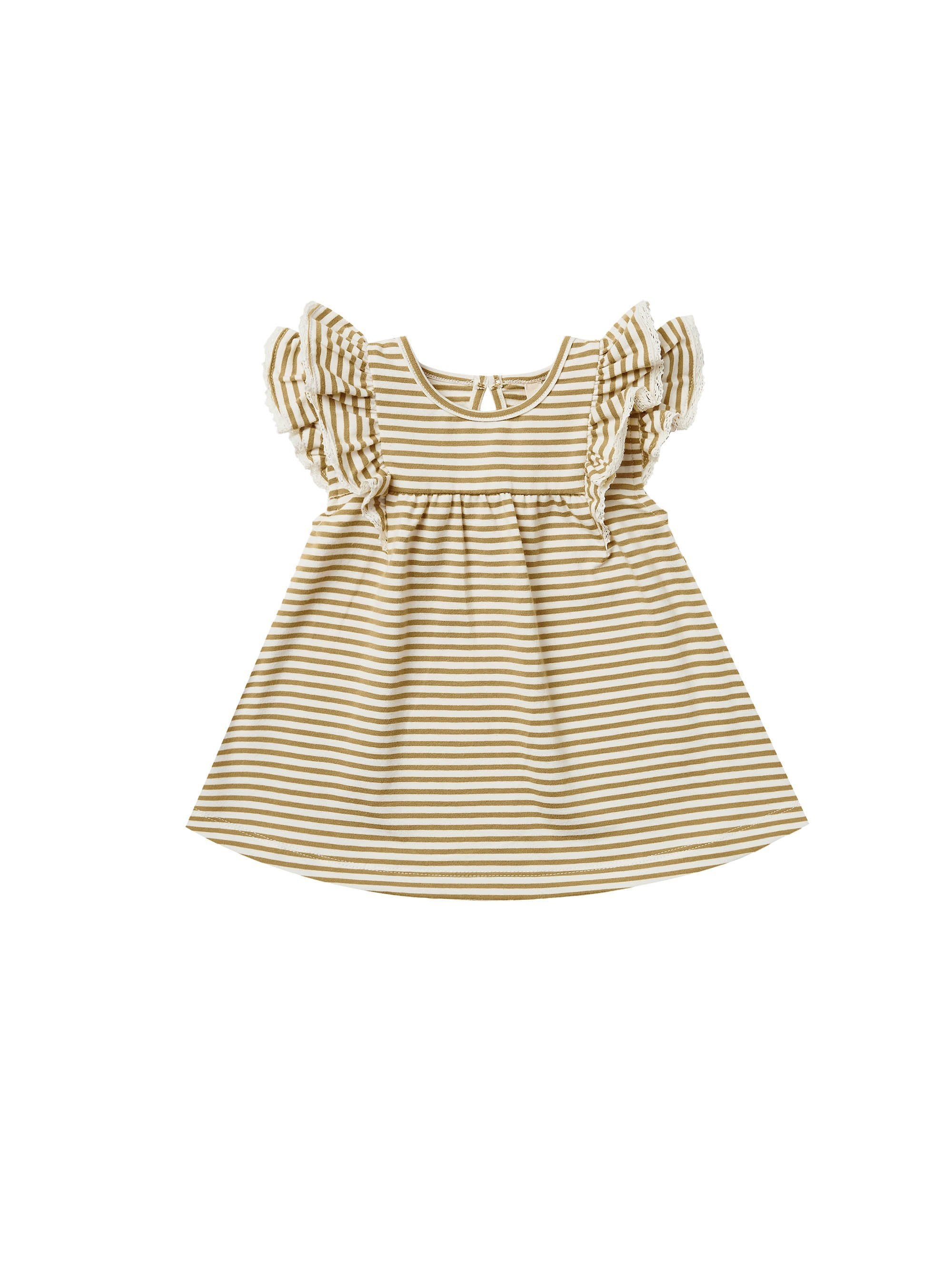 Load image into Gallery viewer, Quincy Mae Flutter Dress Gold Stripe