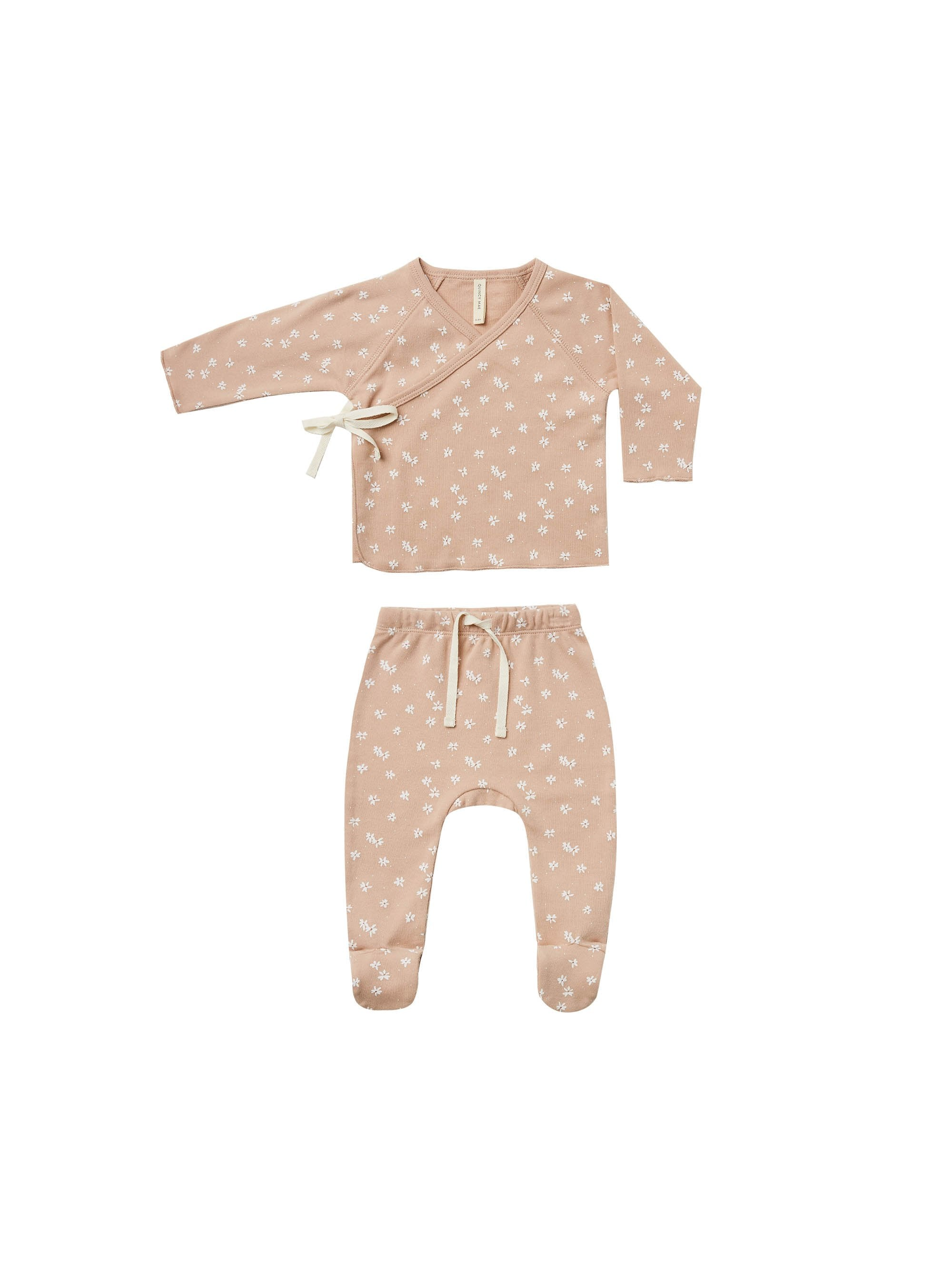Load image into Gallery viewer, Quincy Mae Kimono Top + Footed Pant Set Blossom Petal