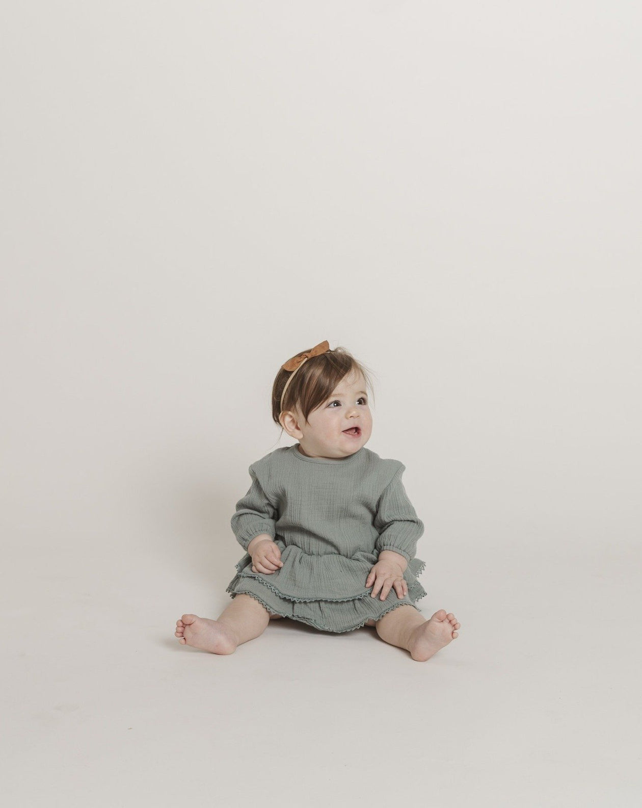 Quincy Mae Organic Cotton Gauze Rosie Romper in Ocean