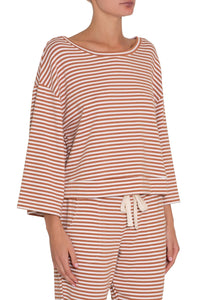 Quincy Icon Top - Pecan/White | Eberjey - Women's Loungewear