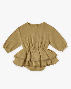 Quincy Mae Organic Cotton Gauze Rosie Romper in Ocre.